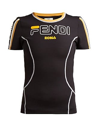 f0433f4bf3d0 Fendi Logo Print Stretch Jersey T Shirt - Womens - Black Gold