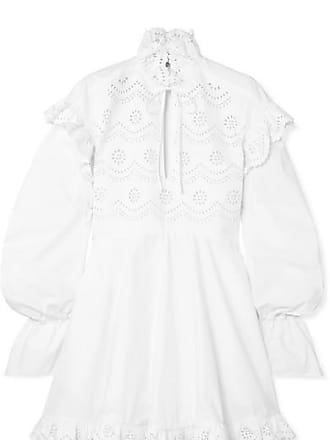 Philosophy di Lorenzo Serafini Ruffled Laser-cut Cotton-poplin Mini Dress - White