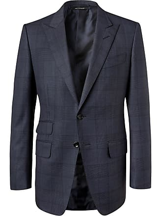 Tom Ford Navy Oconnor Slim-fit Prince Of Wales Checked Wool Suit Jacket - Midnight blue