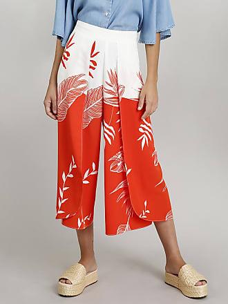 Dress To Calça Pantacourt Feminina Envelope Dress To Estampada de Ramos Laranja