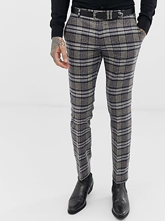 Twisted Tailor Pantaloni da abito super skinny scozzese mélange-Grigio