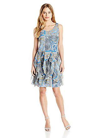 a167eba22e77a Robbie Bee Womens Petite Sleeveless Scarf Printed Chiffon Corkscrew Dress,  Gold Peri, 4P