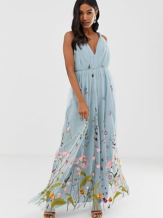 e61488933285 Asos tulle maxi dress with delicate floral embroidery and twist straps -  Blue
