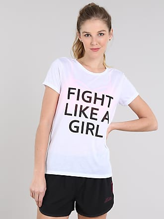 Ace Blusa Feminina Esportiva Ace Fight Like a Girl Manga Curta Branca