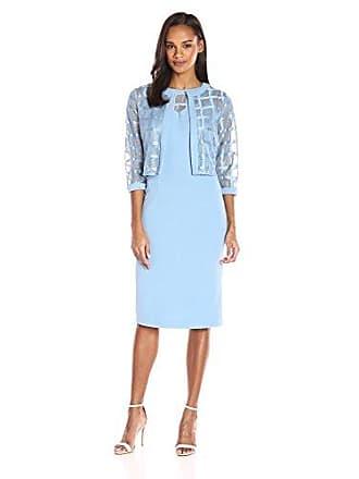 Maya Brooke Womens Sheath Dress with Sheer Jacket, French Blue, 16