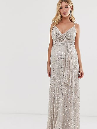 Asos Maternity ASOS DESIGN Maternity tie waist maxi dress in all over sequin-Gold