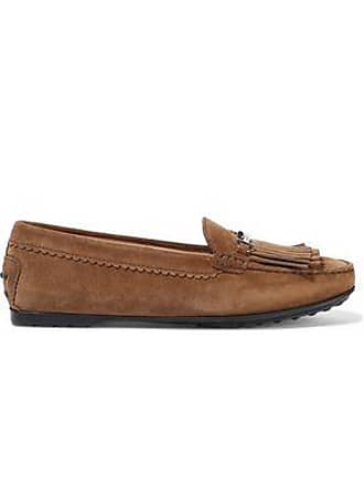 Tod's Tods Woman Fringed Suede Moccasins Light Brown Size 37.5