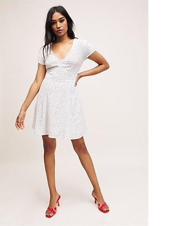 Dynamite V-Neck Fit & Flare Dress White W/ Black Dots