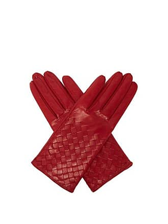 Bottega Veneta Intrecciato Leather Gloves - Womens - Burgundy
