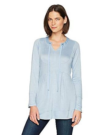 Oneworld Womens Long Sleeve French Terry Pullover Tunic, Ashley Blue, Large