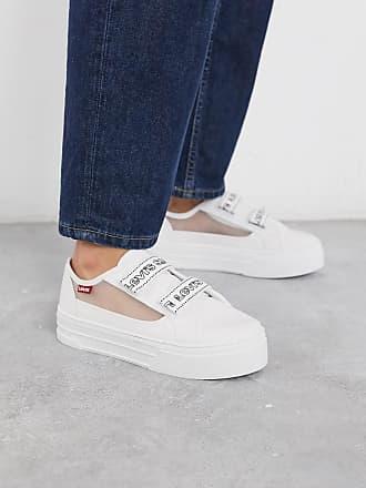 Levi's Sneakers con inserti a rete e cinturini a strappo con logo-Bianco