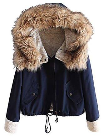 1b393f58d18f2 Shein Damen Pelz Kapuze Parka Jacke Tasche Mantel Marineblau XS