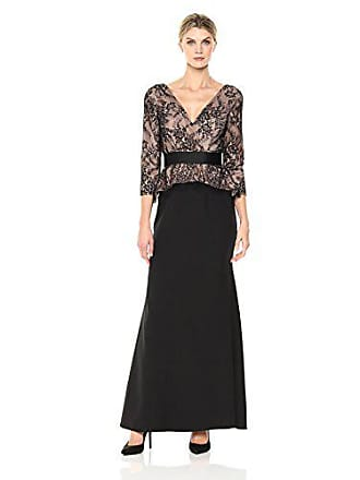 JS Collections Womens V Neck Lace Peplum Gown, Black/Nude, 2