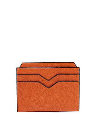 Valextra Grained Leather Cardholder - Mens - Orange