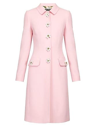 507df117ef2 Dolce & Gabbana Flower Embellished Single Breasted Wool Crepe Coat - Womens  - Pink