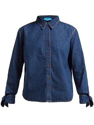 Mih Jeans Larsen Tie Sleeve Denim Shirt - Womens - Dark Blue