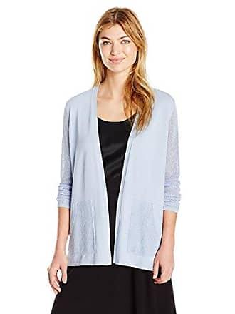 Jones New York Womens Mesh Sleeve Sweater Cardi, Light Wedgewood M