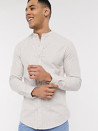 Topman Langärmliges, gestreiftes Oxford-Hemd in Braun und Weiß