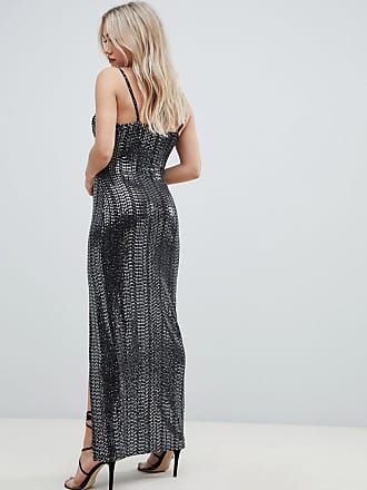 d908f8b539 Missguided exclusive petite sequin cowl neck side split maxi dress in black  - Black