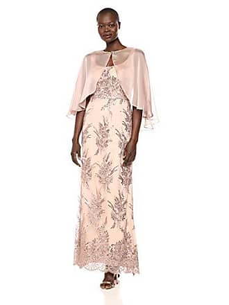 Ignite Womens Mother of The Bride Long Sequin Dress with Sleeves, Bisque, 6