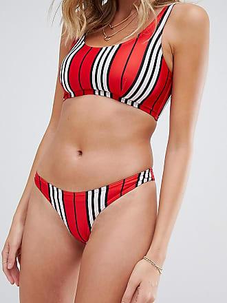 Wolf & Whistle Esclusiva Wolf & Whistle - Slip bikini a vita alta rosso rigato