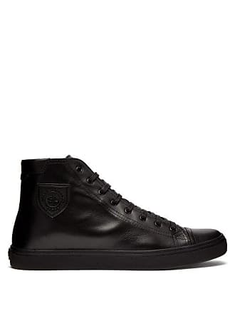 Saint Laurent Bedford High Top Leather Trainers - Mens - Black