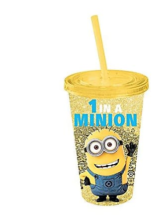 Universal Works DM09087G Despicable Me One-in-a-Minion Glitter Plastic Cold Cup with Lid and Straw, 16-Ounces, Yellow