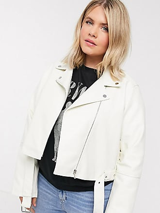 Urban Bliss cropped PU biker jacket-White