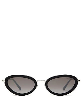 7bf9e91c49 Miu Miu Oval Cat Eye Acetate Frame Sunglasses - Womens - Black