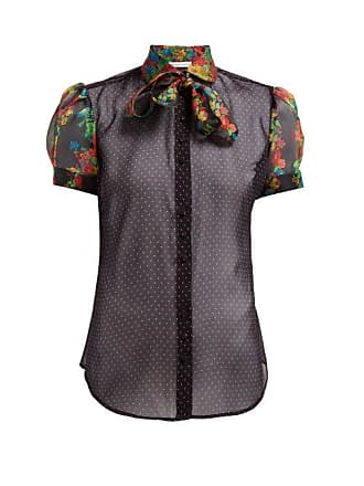 Edeltrud Hofmann Ann Polka Dot Pussy Bow Silk Blouse - Womens - Black Multi