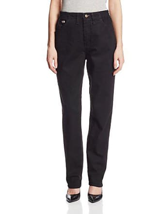 Lee Lee Womens Relaxed Fit Side Elastic Tapered Leg Jean, Double Black, 10 Short