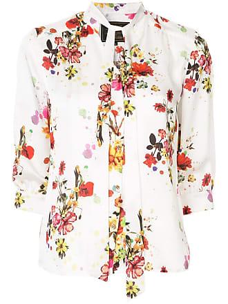 Loveless Blusa floral com amarração - Branco