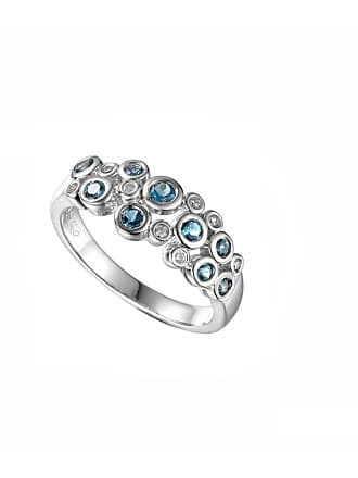 Amore Argento Rhodium Plated Sterling Silver Rhapsody in Blue Ring - UK K 1/2 - US 5 3/8 - EU 51 1/4