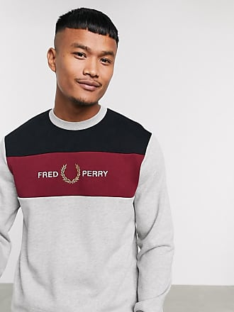 Fred Perry embroidered panel sweat in grey marl