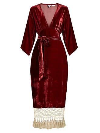 Rhode Resort Rhode - Leonard Tassel Hem Velvet Dress - Womens - Burgundy