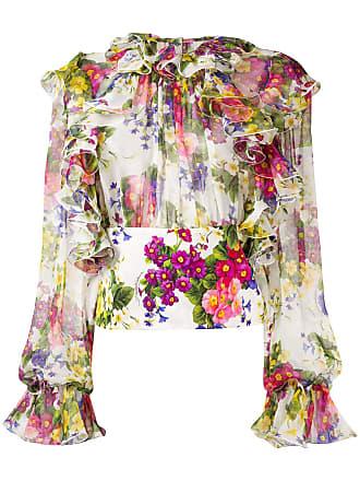Dolce & Gabbana Blusa floral com babado - Rosa