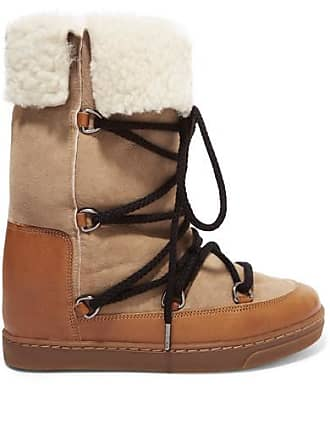 Isabel Marant Nowly Shearling-lined Textured-leather And Suede Snow Boots - Camel