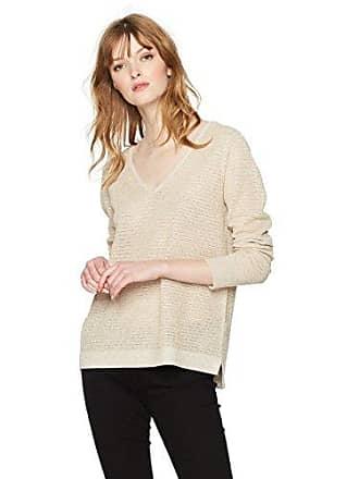 NYDJ Womens Lurex Double V-Neck Sweater, Heather Vanilla, L