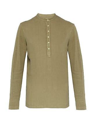 120% Lino Henley Long Sleeved Linen T Shirt - Mens - Khaki