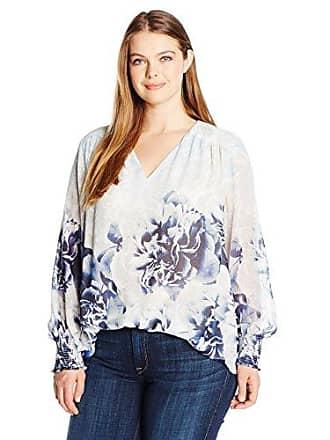012a583421853f Calvin Klein Womens Plus Size Printed V-Neck Peasant Top, Twilight/Light  Gray