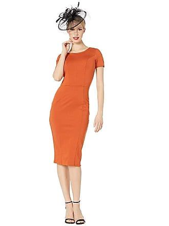 Unique Vintage 1960s Short Sleeve Stretch Mod Wiggle Dress (Cinnamon) Womens Dress