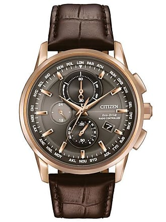 Zales Mens Citizen Eco-Drive Rose-Tone World Chronograph A-T Strap Watch (Model: At8113-04H)
