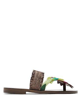 ÁLVARO GONZÁLEZ Alberta Feather Embellished Sandals - Womens - Brown Multi