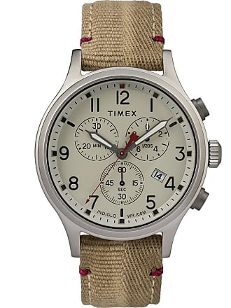 Timex Watch Mens Allied Chronograph 42MM Fabric Strap Silver-Tone/tan/natural Item Tw2R60500Vq