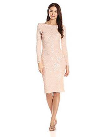 Dress The Population Womens Emery Long Sleeve Stretch Sequin Midi Sheath, Peach/Nude, S