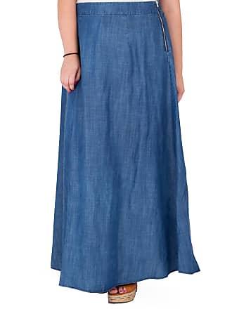 Standards & Practices Plus Size Zalena High-Waist Tencel Denim Maxi Skirt