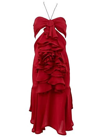 a4864740157549 Tom Ford Yves Saint Laurent By Tom Ford Red Silk Ruffle Dress