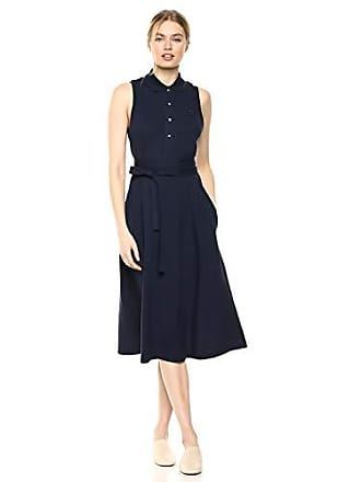 Lacoste Womens S/L Belted Pique Polo Dress, Navy Blue, 2