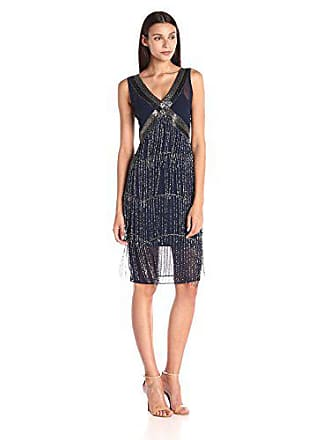 Unique Vintage Womens 1920S Vintage Inspired Beaded Countess Fringe Flapper Dress, Navy, Small