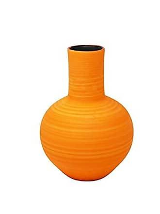 Sagebrook Home Orange Decorative Ceramic Vase, 7 x 7 x 9.75